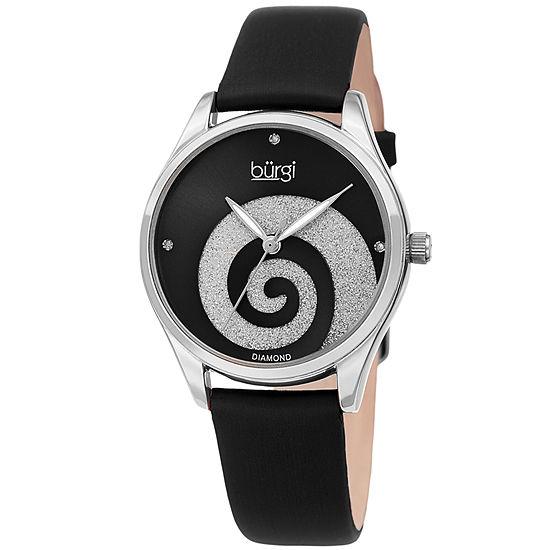 Burgi Womens Diamond Accent Black Leather Strap Watch-B-201ssbk