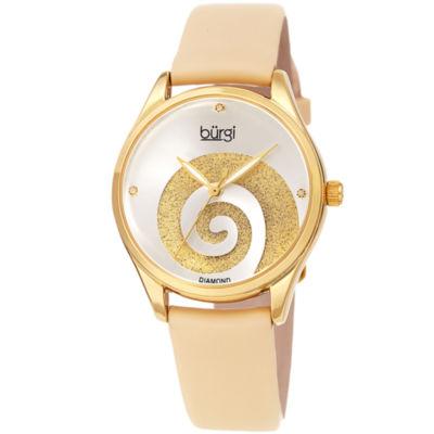 Burgi Womens Gold Tone Strap Watch-B-201yg