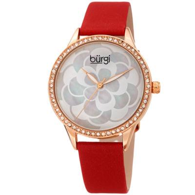 Burgi Womens Red Strap Watch-B-203rdr