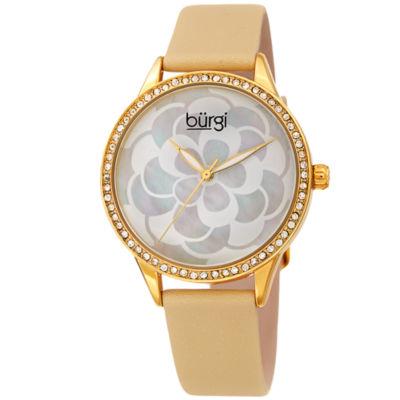Burgi Womens Brown Strap Watch-B-203yg