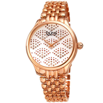 Burgi Womens Rose Goldtone Strap Watch-B-205rg