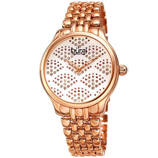 Burgi Set With Swarovski Crystals Womens Crystal Accent Rose Goldtone Bracelet Watch-B-205rg