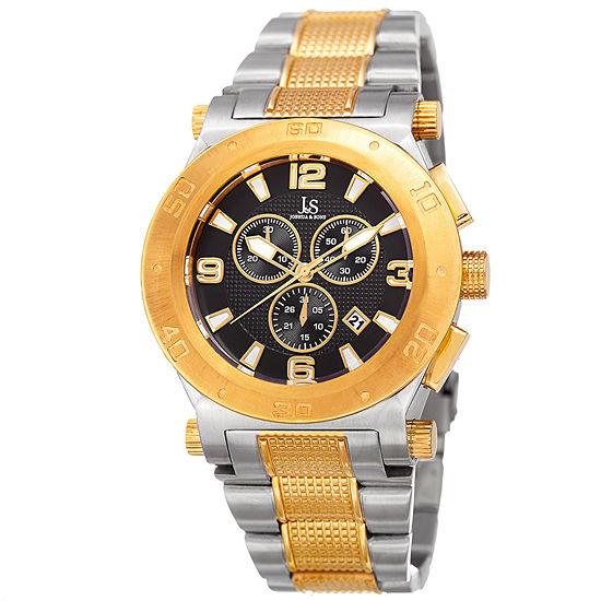 Joshua & Sons Mens Multi-Function Two Tone Stainless Steel Bracelet Watch-J-104ttg