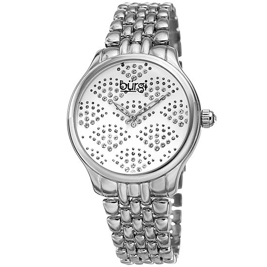 Burgi Set With Swarovski Crystals Womens Crystal Accent Silver Tone Bracelet Watch-B-205ss