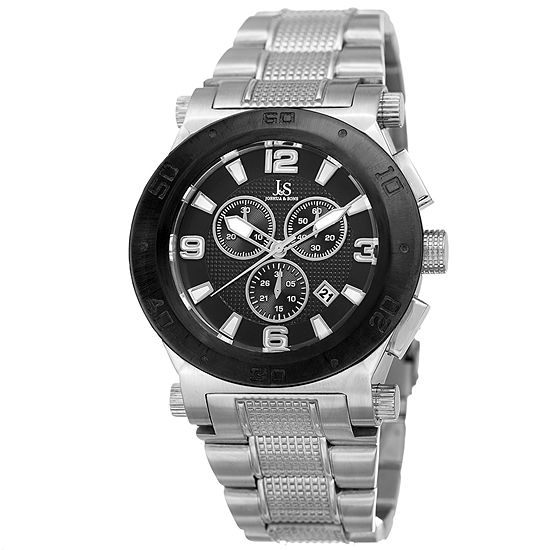Joshua & Sons Mens Silver Tone Bracelet Watch-J-104ssb