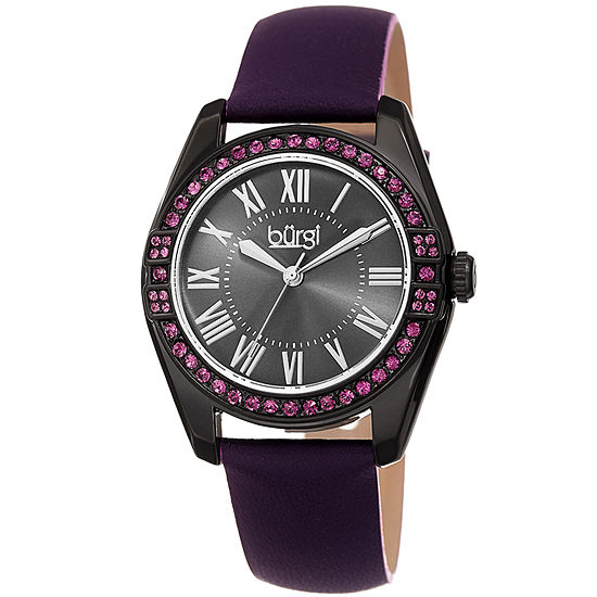 Burgi Set With Swarovski Crystals Womens Crystal Accent Purple Leather Strap Watch-B-206pu