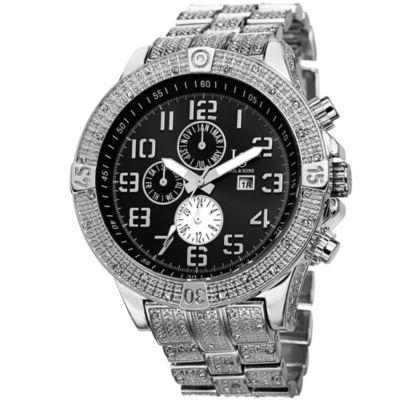 Joshua & Sons Mens Silver Tone Strap Watch-J-78ssb