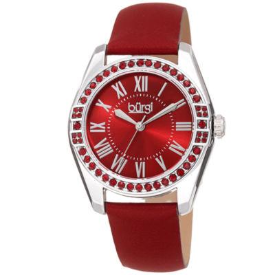 Burgi Womens Red Strap Watch-B-206rd