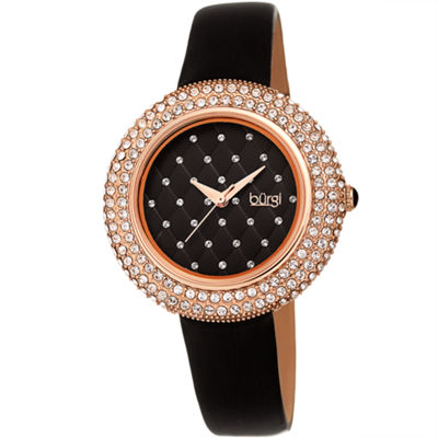 Burgi Womens Black Strap Watch-B-207bkr