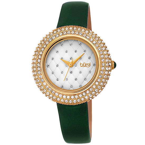 Burgi Set With Swarovski Crystals Womens Crystal Accent Green Leather Strap Watch-B-207gn