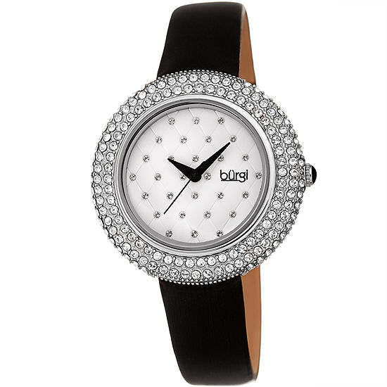 Burgi Womens Black Strap Watch-B-207ssbk