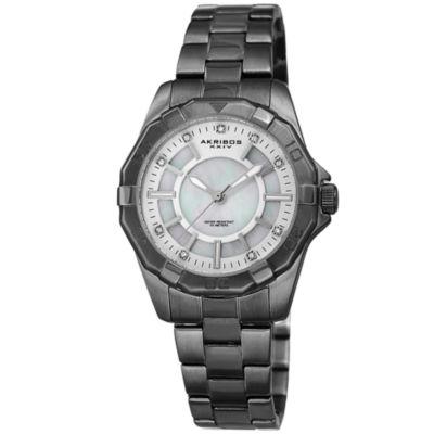 Akribos XXIV Womens Silver Tone Strap Watch-A-1006gn