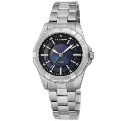 Akribos XXIV Womens Silver Tone Bracelet Watch-A-1006ssb