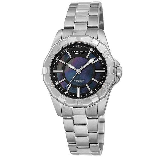 Akribos Xxiv Womens Silver Tone Bracelet Watch A 1006ssb