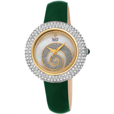 Burgi Womens Green Strap Watch-B-209gn