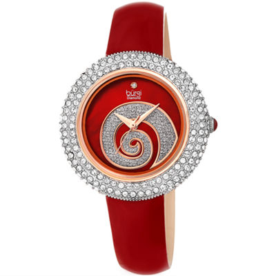 Burgi Womens Red Strap Watch-B-209rd