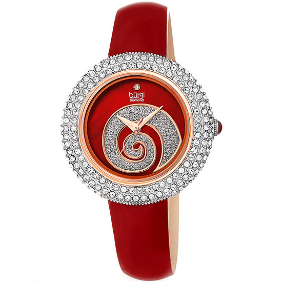 Burgi Set With Swarovski Crystals Womens Crystal Accent Red Leather Strap Watch-B-209rd