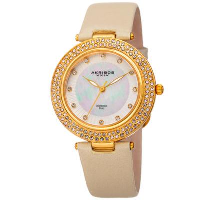 Akribos XXIV Womens Gold Tone Strap Watch-A-1008yg