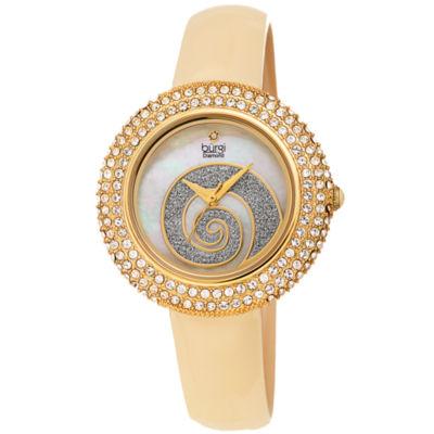 Burgi Womens Gold Tone Strap Watch-B-209yg