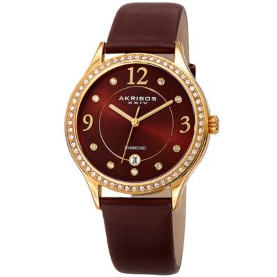 Akribos XXIV Womens Brown Strap Watch-A-1011br