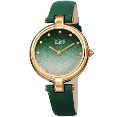 Burgi Womens Green Strap Watch-B-225gn