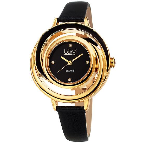 Burgi Womens Black Strap Watch B 210bk