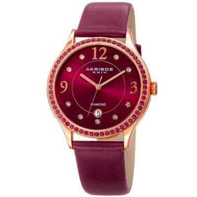 Akribos XXIV Womens Purple Strap Watch-A-1011pu