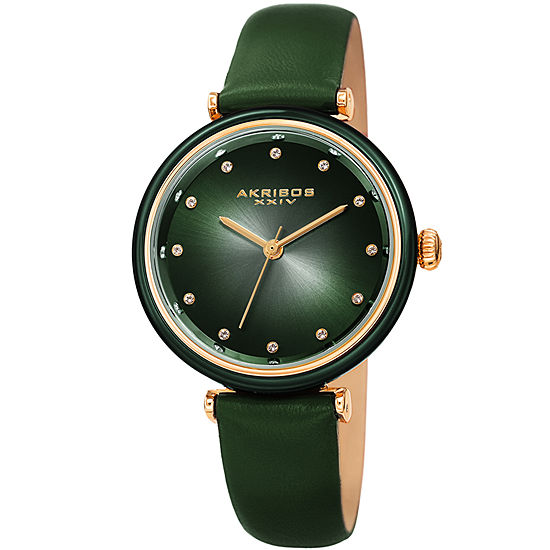 Akribos XXIV Set With Swarovski Crystals Womens Crystal Accent Green Leather Strap Watch-A-1035gn