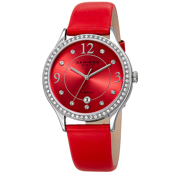 Akribos XXIV Set With Swarovski Crystals Womens Crystal Accent Red Leather Strap Watch-A-1011rd
