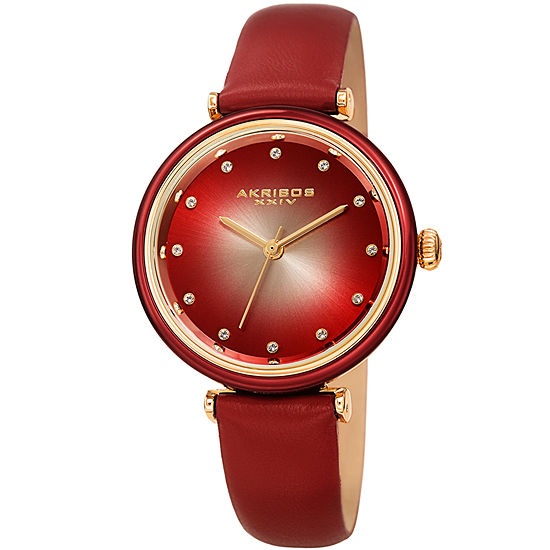 Akribos XXIV Set With Swarovski Crystals Womens Crystal Accent Red Leather Strap Watch-A-1035rd