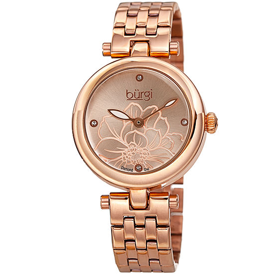 Burgi Womens Diamond Accent Rose Goldtone Stainless Steel Bracelet Watch-B-223rg