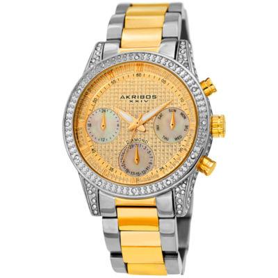 Akribos XXIV Womens Two Tone Strap Watch-A-1038ttg