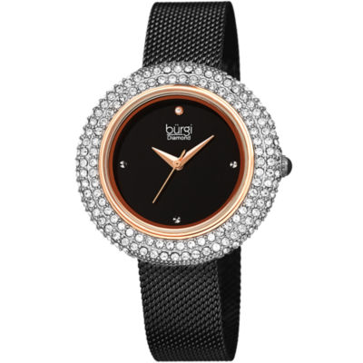 Burgi Womens Black Strap Watch-B-220bkr