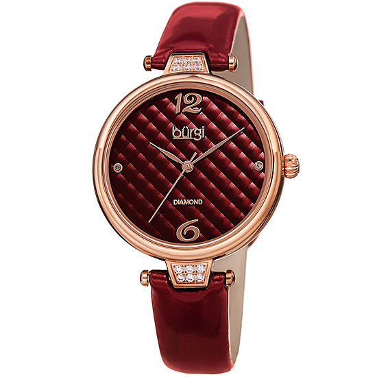 Burgi Womens Red Strap Watch B 222rd
