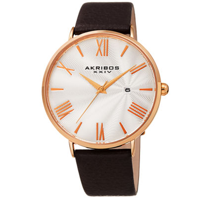 Akribos XXIV Mens Brown Strap Watch-A-1041rgbr
