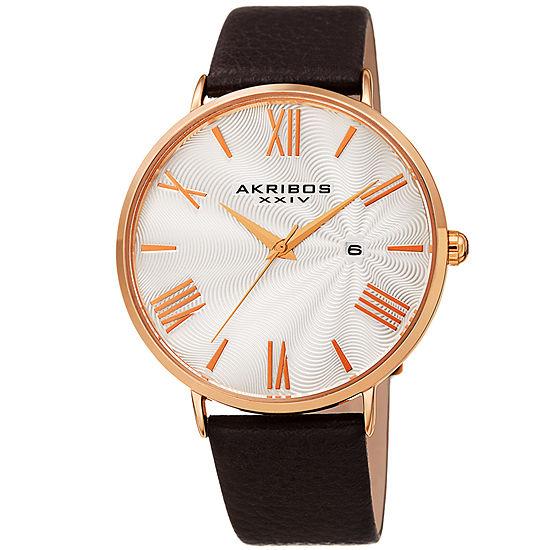Akribos XXIV Mens Brown Leather Strap Watch-A-1041rgbr