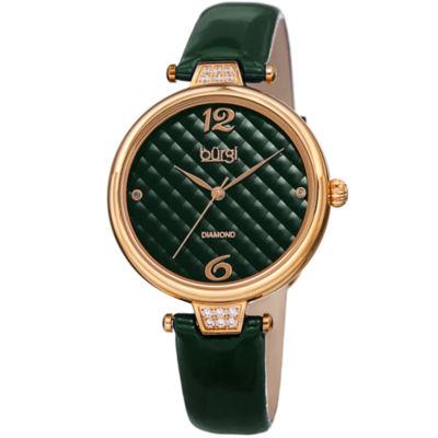 Burgi Womens Green Strap Watch-B-222gn