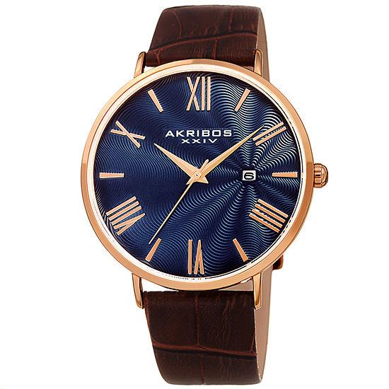 Akribos XXIV Mens Brown Leather Strap Watch-A-1041rgbu