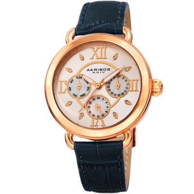Akribos XXIV Womens Blue Strap Watch-A-1043bu