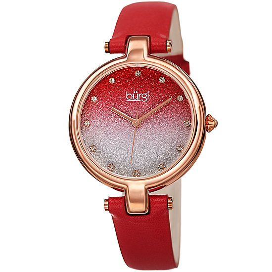 Burgi Set With Swarovski Crystals Womens Crystal Accent Red Leather Strap Watch-B-225rd