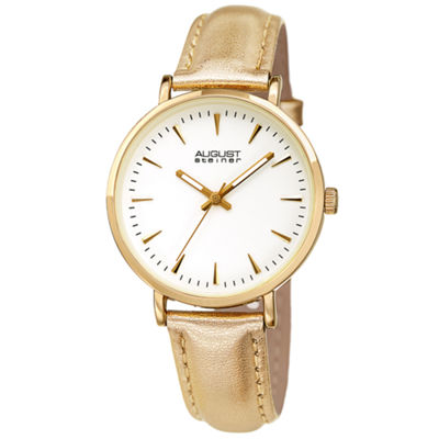 August Steiner Womens Gold Tone Strap Watch-As-8259yg