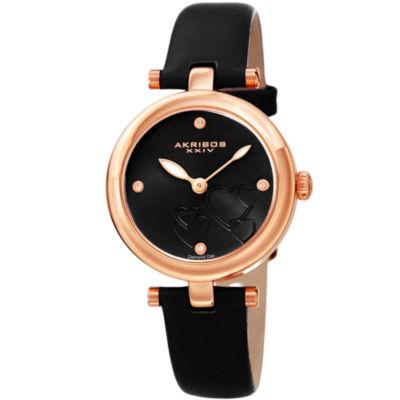 Akribos XXIV Womens Black Strap Watch-A-1044bkr