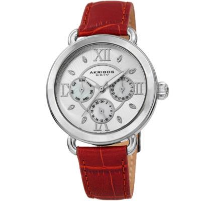 Akribos XXIV Womens Red Strap Watch-A-1043ssrd
