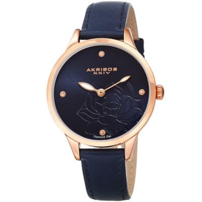 Akribos XXIV Womens Blue Strap Watch-A-1047bu