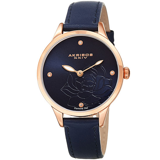 Akribos XXIV Womens Diamond Accent Blue Leather Strap Watch-A-1047bu