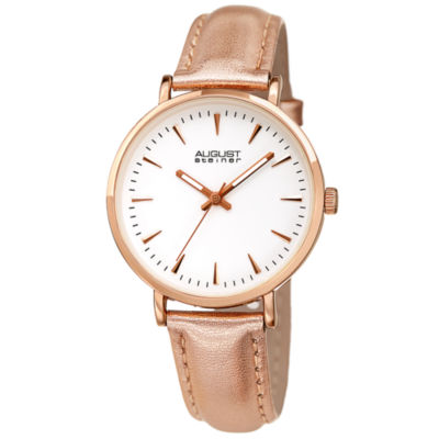 August Steiner Womens Rose Goldtone Strap Watch-As-8259rg