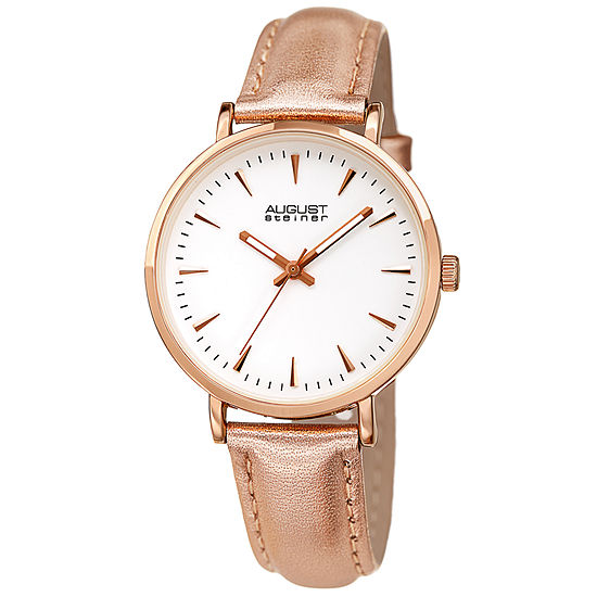 August Steiner Womens Rose Goldtone Leather Strap Watch-As-8259rg