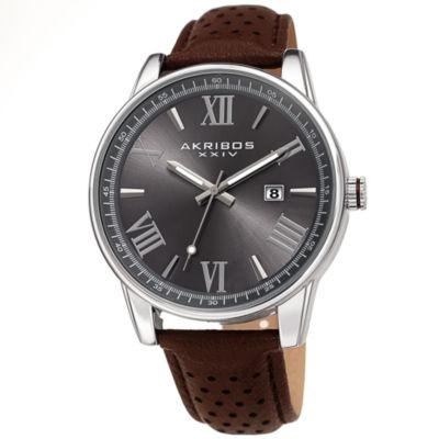 Akribos XXIV Mens Brown Strap Watch-A-1048gnbr
