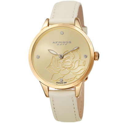 Akribos XXIV Womens White Strap Watch-A-1047wt