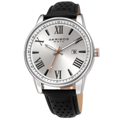 Akribos XXIV Mens Black Strap Watch-A-1048ss